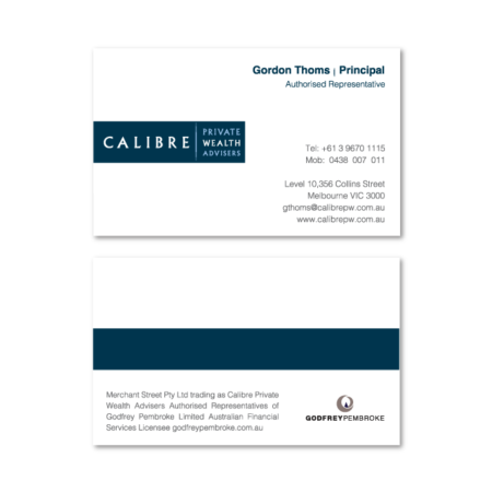 business cards design calibre consulting