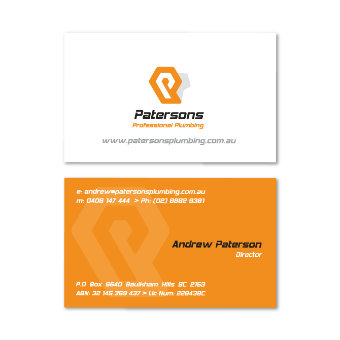 Business card design patersons plumber business cards design plumber reheart Image collections