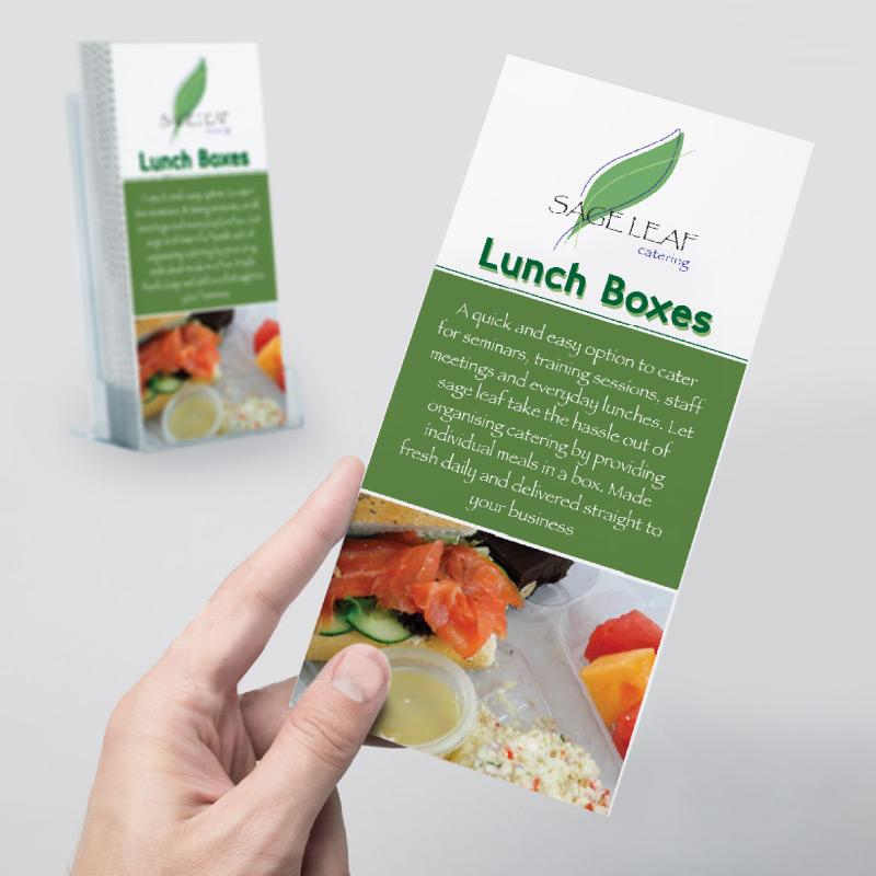 dl brochure design for sageleaf catering