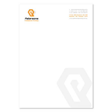 letterhead design pattersons plumbing